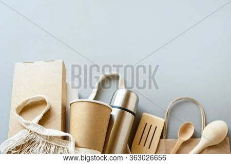 Set Of Unbleached Plant Fiber Food Box And Paper Coffee Cup. Natural Fiber Eco Food And Drink Packag