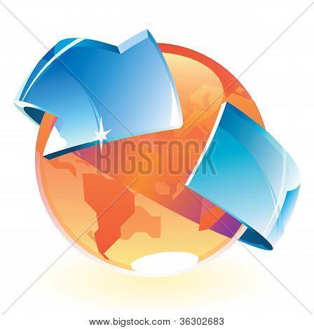 Earth orange and arrow
