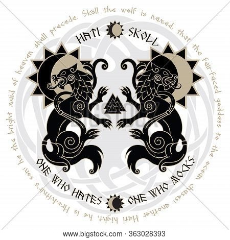 Two Wolves From Norse Mythology, Hati And Skoll Devour The Sun And The Moon
