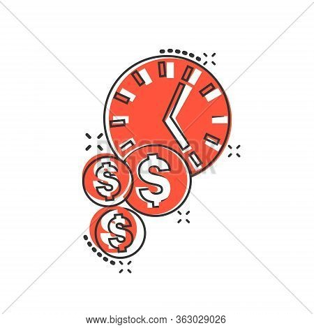 Time Is Money Icon In Comic Style. Project Management Cartoon Vector Illustration On White Isolated