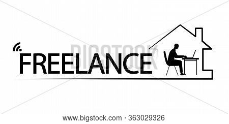 Vector Modern Line Web Icon On Home Office, Freelance, Man Working At Home, Remote Job, Working Onli