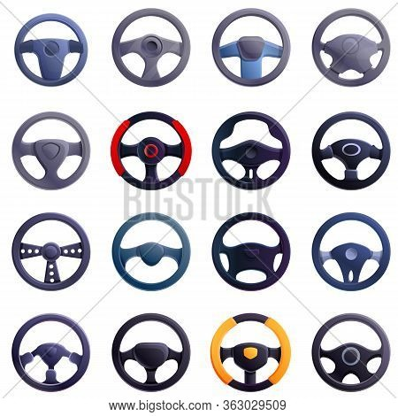 Steering Wheel Icons Set. Cartoon Set Of Steering Wheel Vector Icons For Web Design