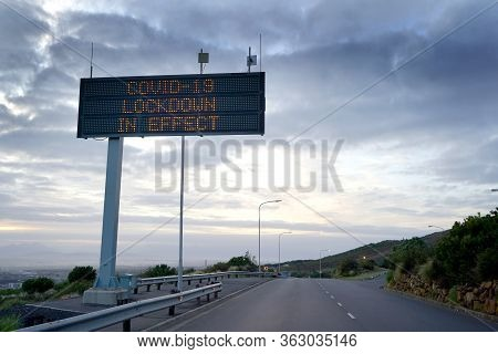 23 April 2020 -cape Town, South Africa : Covid-19 Warning Sign On A Highway In Cape Town