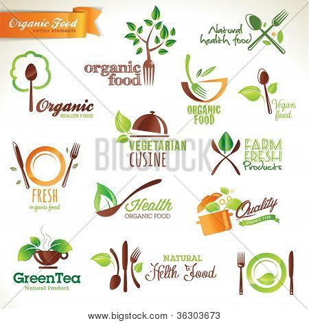 Set of icons and elements for organic food