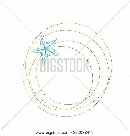 Marine Art Wreath, Seastar And Ocean Seashell Sketch Circles, Vector Gold Geometric Frame. Turquoise