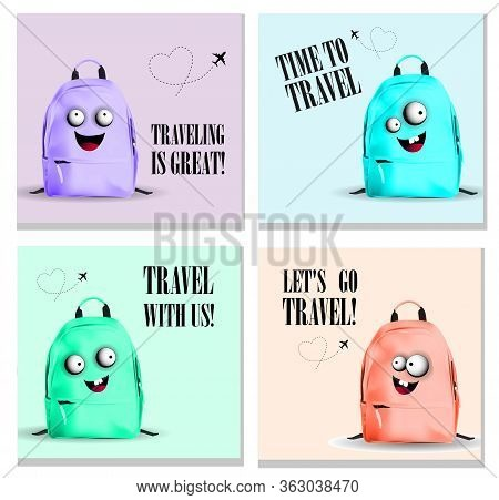 Travel. A Collection Of Posters For A Travel Company. Travel Time. School Bag. Travel Bag Character.
