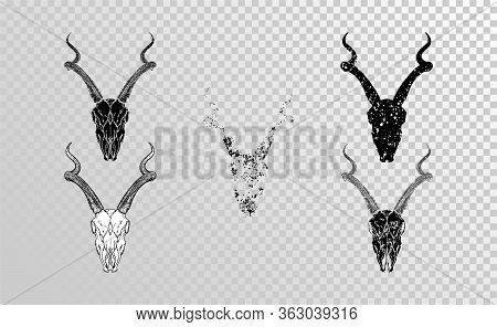 Vector Set Of Hand Drawn Skulls Antelope With Grunge Elements In Different Versions On A Transparent