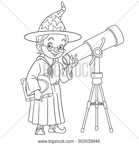 Coloring Page. Coloring Book Picture Of Cartoon Magic Wizard Or Astronomer With Telescope.