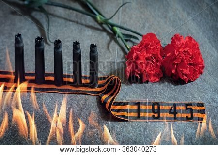 9 May Background - Red Carnations And George Ribbon On The Stone Backgroun, May 9 - Victory Day, A H
