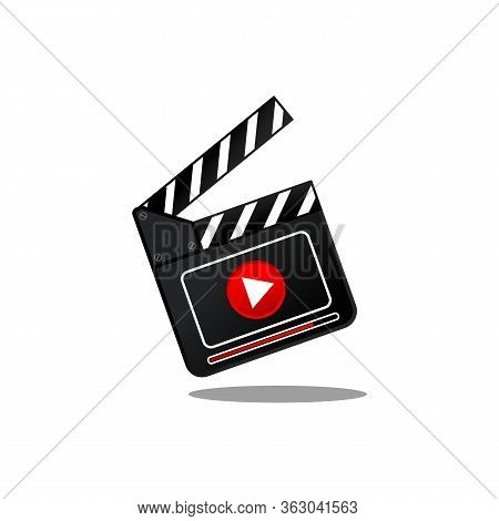 Movie Slate With Play Button Icon Flat In Simple Design On An Isolated White Background. Eps 10 Vect