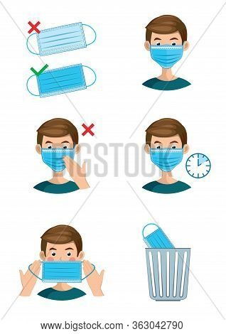 Instructions On How To Properly Put On, Wear And Remove The Mask. Boy In A Mask On A White Backgroun