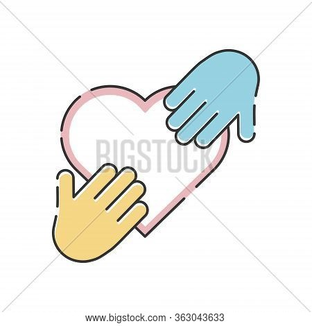 Orphans Help Vector Illustration Isolated On White Background. Hands On The Heart. Voluntary, Charit