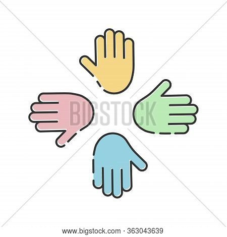 Humanitarian Assistance Vector Illustration Isolated On White Background. Hands Together In Round Sh