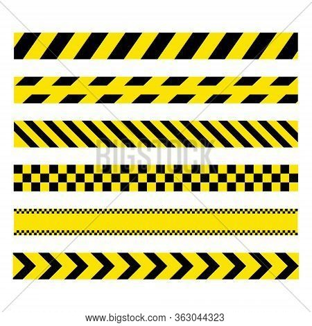 Yellow And Black Set Stripes. Barricade Construction Tape. Police Warning And Hazard Stripe. Vector