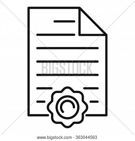 Appreciation Document Icon. Outline Appreciation Document Vector Icon For Web Design Isolated On Whi