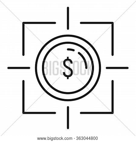 Millionaire Money Target Icon. Outline Millionaire Money Target Vector Icon For Web Design Isolated