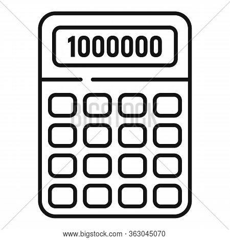 Millionaire Calculator Icon. Outline Millionaire Calculator Vector Icon For Web Design Isolated On W