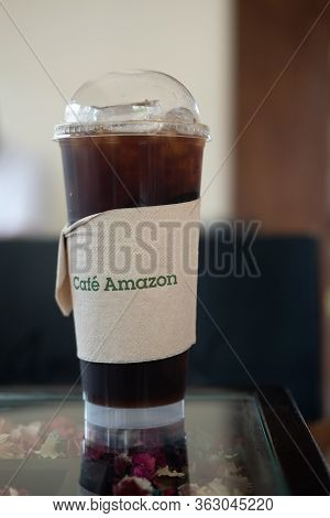 Bangkok,thailand - May 30 2020: Iced Americano Coffee Of Amazon Brand On A Table At Amazon.  It's A