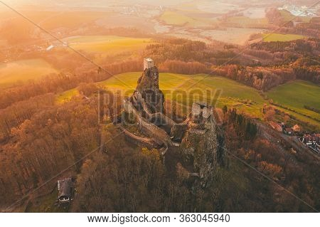Trosky Castle Is A Castle Ruin In Liberec Region, Czech Republic. Is On The Summits Of Two Basalt Vo