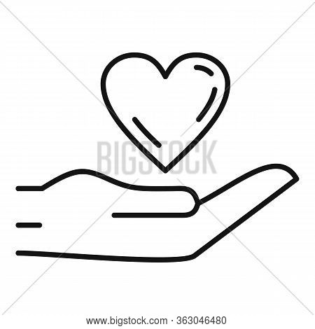 Keep Love Heart Icon. Outline Keep Love Heart Vector Icon For Web Design Isolated On White Backgroun