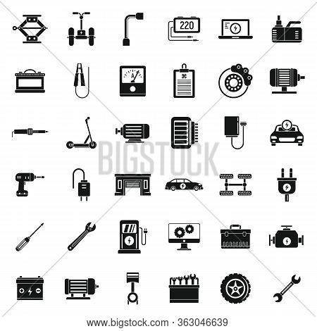 Electric Vehicle Repair Car Icons Set. Simple Set Of Electric Vehicle Repair Car Vector Icons For We