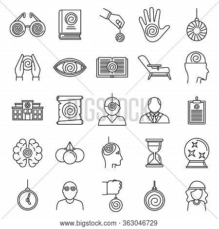 Hypnosis Health Icons Set. Outline Set Of Hypnosis Health Vector Icons For Web Design Isolated On Wh