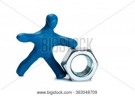 Plasticine small person seller of metal fasteners isolated on white
