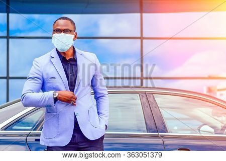 Successful Businessman Handsome African American Man In A Stylish Suit In A Blue Jacket Standing In