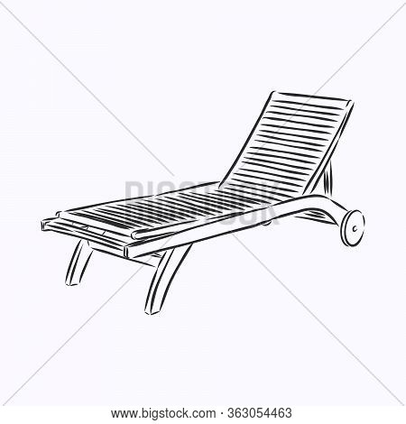 Hand Drawn Vector Illustration In Black Ink On White Background. A Beach Bed In Doodle Style. Isolat