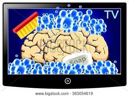 Tv Brainwashing People. Caricature And Metaphor Of How Thoughts Gets Manipulated By Mainstream Media