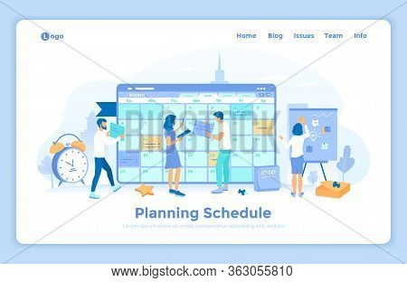 Planning Schedule. Online Web Page Interface Planner, Organizer, Calendar, Project Plan. People Work
