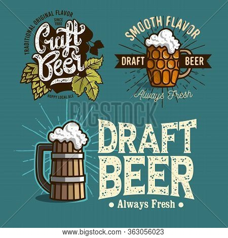 Beer Brew Brewery Alcohol Related Vector Illustrations Designs.