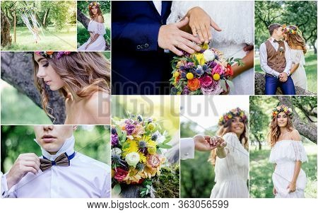 Wedding Collage - Beautiful Marriage Outdoors, Montage Of Wedding Day