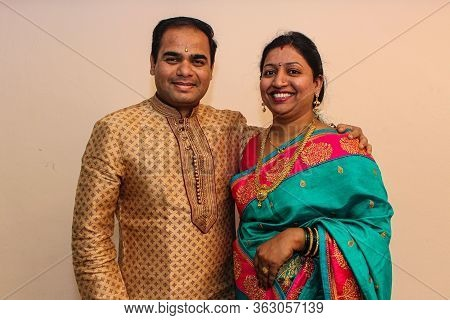 Happy Indian Couple Getting Ready For Wedding Giving Pose For Photo