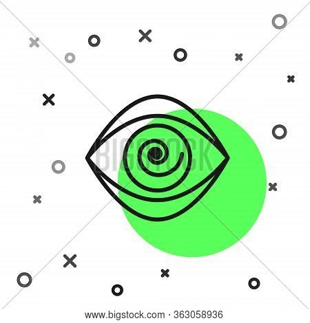 Black Line Hypnosis Icon Isolated On White Background. Human Eye With Spiral Hypnotic Iris. Vector I