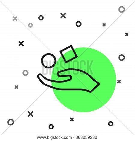 Black Line Cube Levitating Above Hand Icon Isolated On White Background. Levitation Symbol. Vector I