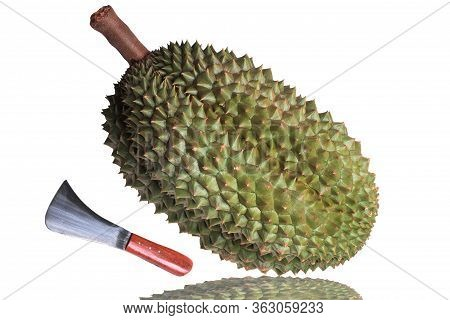 The Popular Thailand Of Durian The Big Ripe Chanee Durian And Local Durian,s Knife.