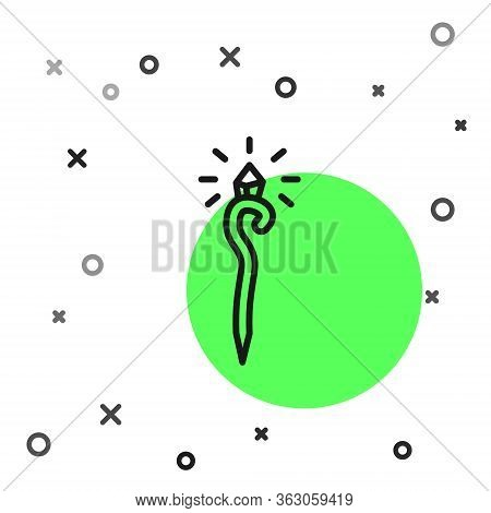 Black Line Magic Staff Icon Isolated On White Background. Magic Wand, Scepter, Stick, Rod. Vector Il