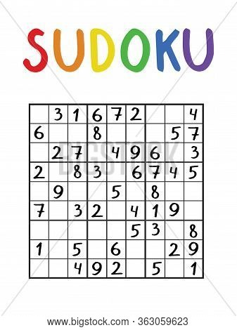 Sudoku Stock Vector Illustration. Educational Logic Math Game With Numbers For Kids And Adults. Medi