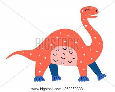 Little Cute Red Diplodocus. Prehistoric Animals. Jurassic World. Paleontology. Reptile. Archeology.