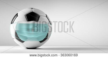 Soccer, football ball in medical mask. Sport against coronavirus COVID-19 concept. 3D render