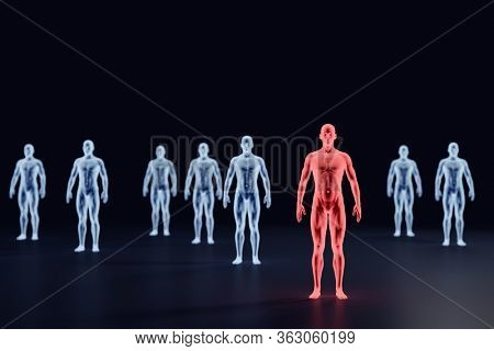 Social distancing because of coronavirus COVID-19. X-ray men. 3D illustration