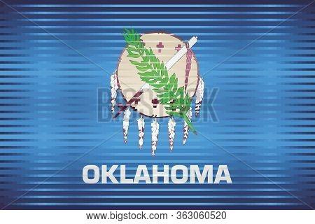 Shiny Grunge Flag Of The Oklahoma - Illustration,  Three Dimensional Flag Of Oklahoma