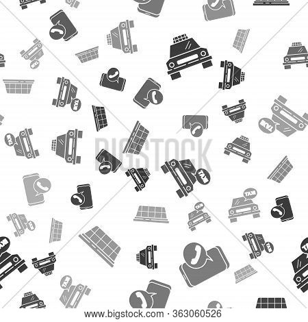 Set Taxi Car, Taxi Call Telephone Service, Taxi Car And Taxi Car Roof On Seamless Pattern. Vector
