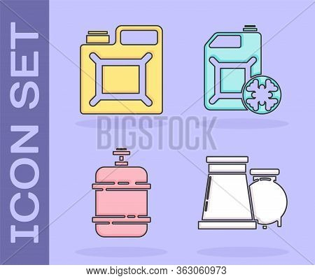 Set Oil And Gas Industrial Factory Building, Canister For Gasoline, Propane Gas Tank And Antifreeze