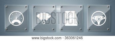 Set Steering Wheel, Car Door, Speedometer And Speedometer. Square Glass Panels. Vector