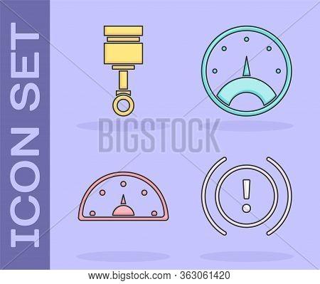 Set Brake System Warning, Engine Piston, Speedometer And Speedometer Icon. Vector