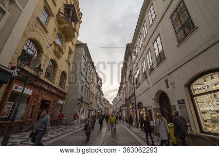 Prague, Czechia - November 3, 2019: Street Of Stare Mesto, Celetna Ulice, In The Historical Center O
