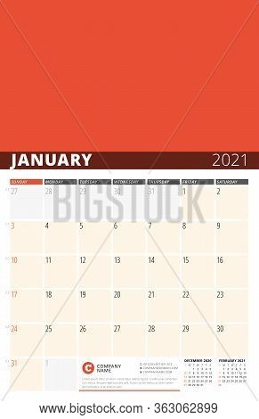 Corporate Design Planner Template For January 2021. Monthly Planner. Stationery Design. Week Starts