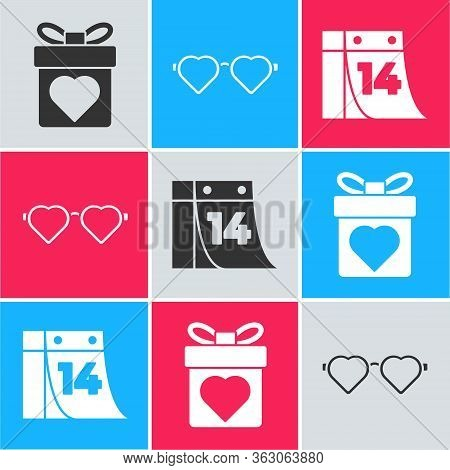 Set Gift Box With Heart, Heart Shaped Love Glasses And Calendar With February 14 Icon. Vector